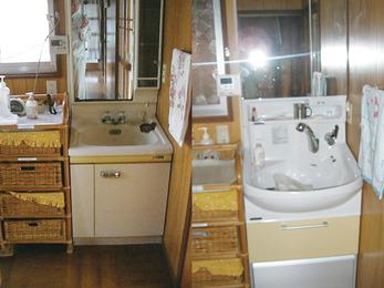 大容量のボウルと伸びるシャワー水栓で洗髪もOK。