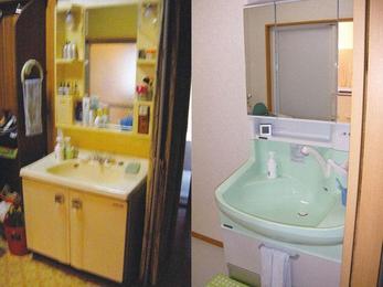 水廻り改修で、空間スッキリの洗面台を。