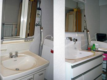 シャワー水栓で洗髪も楽々最新型の洗面台に。