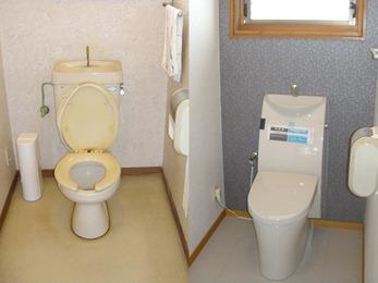 水色の壁面にし、とても落ち着くトイレに。