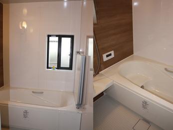 窓の開きも調整できる、落ち着いた雰囲気の浴室。