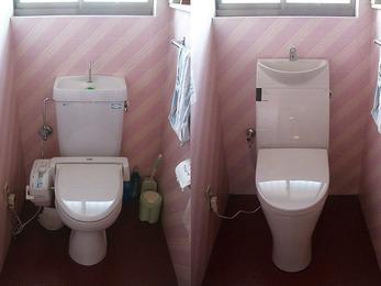 トイレ内の暖房もする最新型の便器に取替。