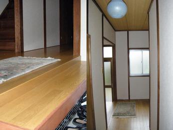 壁と床を貼替、お家の顔は明るい空間に。