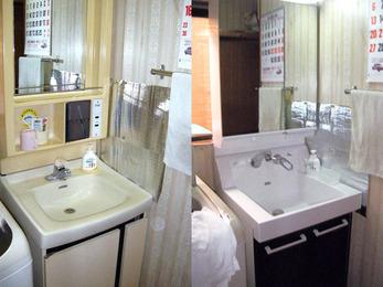 お掃除も楽になり、鏡裏収納活用で空間もスッキリ!